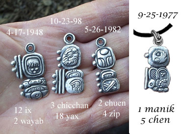 Hand 4datesbg maya birthdate pendants in sterling silver from the maya calendar round 118 silver fee pendants come on a leather cord shown above aloadofball Images